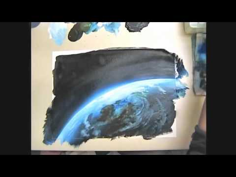 【YouTube】アナログ背景の描き方「地球を描いてみた」