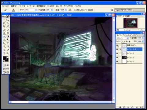 【YouTube】CG背景の描き方講座「廃墟を描いてみた」