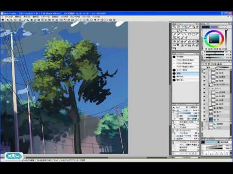 【YouTube】Step 02-03 タッチをつけながら彩色する3―IllustStudio 風景 テクニック